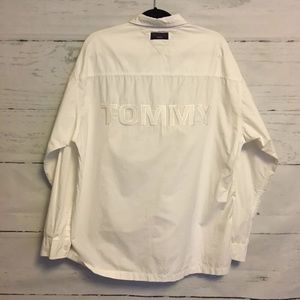 Vintage Tommy Hilfiger White Spellout Button Down